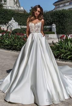crystal design 2018 sleeveless illusion boat sweetheart neckline heavily embellished bodice satin romantic skirt a line wedding dress with pockets open back chapel train (kinsley) mv -- Crystal Design 2018 Wedding Dresses #BrideDresses