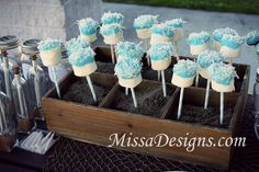 Marshmallow white chocolate coconut pops for ocean themed birthday party by MissaDesigns.com