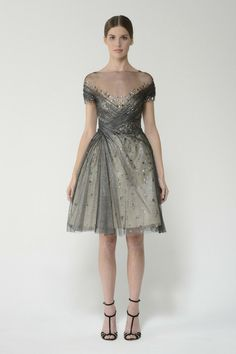 Shop this embroidered tulle short sleeve boat neck dress with side drape and more at moniquelhuillier.com #MoniqueLhuillier
