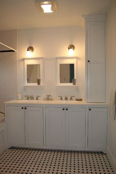 double vanity with built in linen closet - Google Search