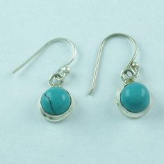 925 HANDMADE STERLING SILVER FASHION JEWELRY EARRINGS TURQUOISE STONE S.2.5 cm  #SilvexImagesIndiaPvtLtd #DropDangle