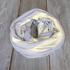 Pale Yellow and Blue Gray Striped Infinity Scarf // by TheBlueDodo