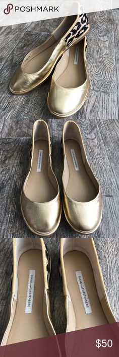 DVF Diane Von Furstenburg Botswana Flats DVF Diane Von Furstenburg Botswana Flats - Size 8.5. Very good used condition. Gold and cheetah print. Price is firm. Diane Von Furstenberg Shoes Flats & Loafers