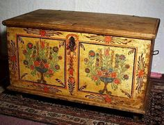 painted antique blanket chest | ANTIQUE PAINTED BLANKET CHEST DATED 1833