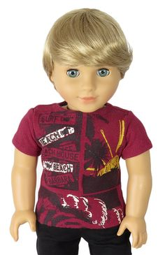 American Boy Doll Clothes Outfit. - Upcycled Red Beach and Surf Tee.
