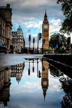 Big Ben Reflection In a Puddle of Rain