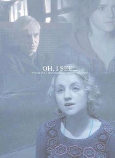 - Tu n'es pas fou, moi aussi je les vois. - Je vous présente loufocalove heu... Luna Lovegood... Harry Potter et L'ordre du Phoenix, Luna Lovegood et Hermione.