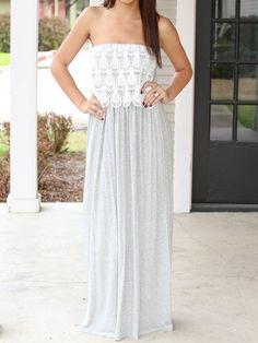 Gray Strapless Crochet Lace Panel Empire Maxi Dress