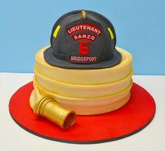 Fireman Helmet and hose Cake by LovelyCakes.net, via Flickr