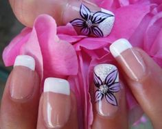 French Manicure with Purple Flower Designs 2014   Nail Art Ideas for more findings pls visit www.pinterest.com/escherpescarves/