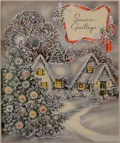 1940s Glittered House & Trees-Vintage Christmas Greeting Card