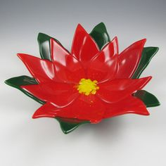 Poinsettia Bowl Fused Glass  Red Christmas by AngelasGlassStudio, $38.00