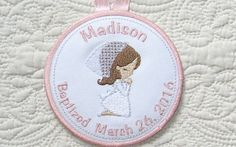 Personalized Praying Girl Baptism Ornament // by SAshleeEmbroidery