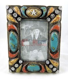 """Rustic Western Wooden Turquoise 4 x 6/"""" Picture Frame Pistol Rope Studs"""