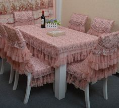 $13.77 table covering from zzkko.com ~~~~~ COULDN'T BE PRETTIER!!!   <3 Kitchen Table Chairs, Dinning Room Tables, Shabby Chic Table And Chairs, Shabby Chic Decor, Chair Covers, Table Covers, Elegant Table Settings, Layered Curtains, Indian Living Rooms