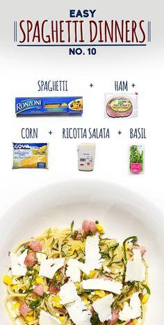 Spaghetti with Corn, Ham, and Ricotta Salata