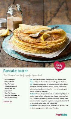 PANCAKE PARTY: Grab the cinnamon and sugar, slice a lemon and start flipping pan. PANCAKE PARTY: Grab the cinnamon and sugar, slice a lemon and start flipping pancakes in honour of Pancake Day. Ina Paarman's batter recipe is foolproof! Brunch Recipes, Sweet Recipes, Breakfast Recipes, Dessert Recipes, Breakfast Ideas, Quick Pancake Recipe, Pancake Recipes, Kos, African Dessert
