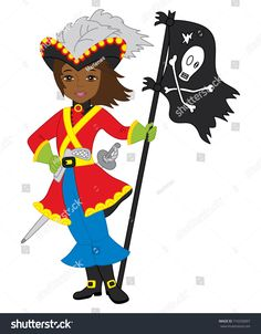Vector African American pirate girl holding pirate flag. Vector beautiful African American pirate girl with Jolly Roger flag. Pirate girl vector illustration