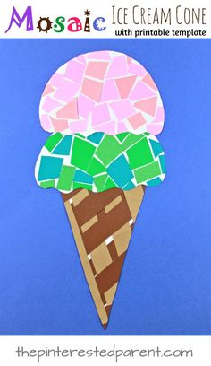 bella Paper mosaic ice cream cone craft with free printable template. Construction paper crafts for kids. Summer arts and crafts projects. Fun Craft, Craft Projects For Kids, Paper Crafts For Kids, Arts And Crafts Projects, Preschool Crafts, Craft Ideas, Craft With Paper, Simple Paper Crafts, Color Paper Crafts