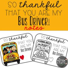 Thankful Notes for the Bus Driver FREEBIE