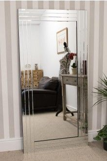 Large Silver Bevelled Modern All Glass Wall Mirror 5Ft8 X 2Ft9 174cm X 85cm