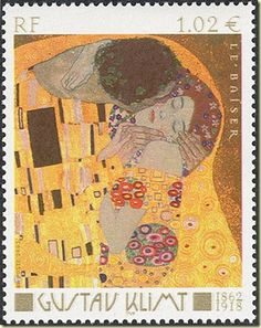 Commemorative stamp featuring The Kiss by Gustav Klimt. July 14, 2012 was the… Gustav Klimt, The Kiss, Postage Stamp Design, Commemorative Stamps, Gustave Dore, Envelope Art, Stamp Printing, Love Stamps, Vintage Stamps