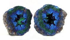 This is an adorable Geode of solid Azurite, with tiny sparkling crystals in the middle, accented with pretty green Malachite - Blueball Mine, Globe Hills, Globe-Miami District, Gila Co., Arizona, USA