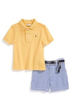 Ralph Lauren Cotton Polo & Seersucker Shorts (Baby Boys) available at #Nordstrom