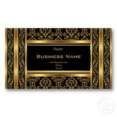 Damask Floral Ornate Gold Black Elegant Classy Business Card Templates