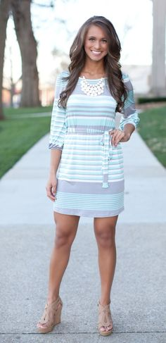 The Pink Lily Boutique - Call My Name Mint and Grey Dress, $40.00 (http://thepinklilyboutique.com/call-my-name-mint-and-grey-dress/)