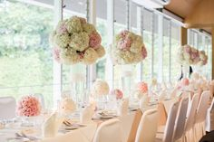 Pink and white hydrangea wedding centerpieces | Romantic Wedding Filled with…