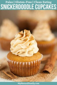These Paleo cupcakes with coconut flour recipe is made better with the addition of cinnamon, which gives it the snickerdoodle flavor. The tops are sprinkled with Paleo cinnamon sugar. (Gluten Free, Clean Eating) via Sugar Free Cupcakes, Paleo Cupcakes, Easy Cupcake Recipes, Fun Cupcakes, Cupcake Cakes, Dessert Sans Gluten, Paleo Dessert, Gluten Free Desserts, Dessert Recipes
