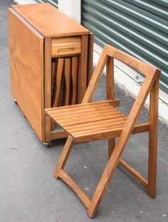 Vintage Teak Foldable Table And 4 Folding Chairs   Products   New York    Unique Pieces In Time By Chris Marone