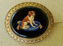 Antique Micro Mosaic Spaniel Dog Brooch
