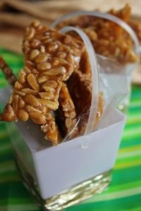 Almond, pine nut and salted caramel brittle