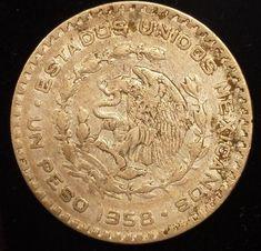 1958 Mexico Silver Peso Coin Libertad Independencia Morelos Money Snake Eagle