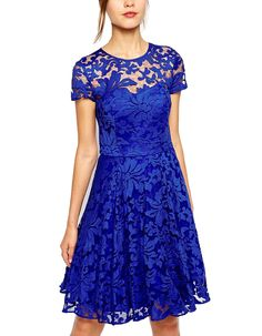 Zeagoo Women's Short Sleeve Crew-neck Sexy Lace Zipper Summer Dress at Amazon Women's Clothing store: