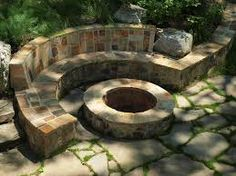 Image result for outdoor built in seating ideas fire pit