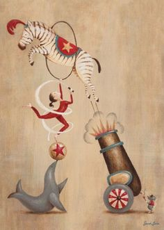 """""""Vintage Circus Cannon"""" Art for Nursery goes perfectly with Sarah Lowe's entire Vintage Circus Collection for Oopsy Daisy sizes 10x14 and 18x24"""