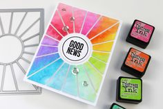 Create a pop out die cut sunburst with a rainbow of color! - CZ Design Rainbow Card, Rainbow Colors, Studio Cards, Pretty Pink Posh, Pink Cards, Distress Ink, Distress Oxides, Pop Out, Color Card