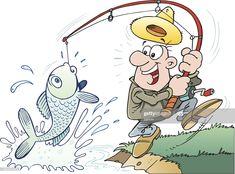 An a vector illustration of fisherman. Cartoon Fish, Cute Cartoon, Cute Animal Drawings, Cartoon Drawings, Cartoon Airplane, Boy Printable, Fishing Pictures, Fish Art, Free Illustrations
