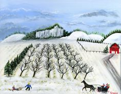 Original Folk Art Winter Painting 16x20 with by treehugginlovin, $350.00
