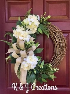 Your place to buy and sell all things handmade Diy Spring Wreath, Summer Door Wreaths, Fall Wreaths, Wreaths For Front Door, Diy Wreath, Wreath Ideas, Tulle Wreath, Greenery Wreath, Hydrangea Wreath