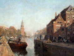 Cornelis Vreedenburgh (1880-1946), Zicht op de Montelbaanstoren te Amsterdam, gezien vanaf de Sint Antoniesluis, 1920