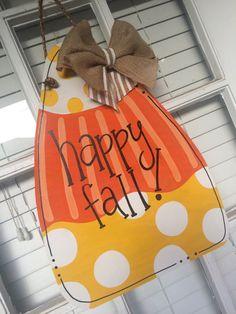Fall Candy Corn Wooden Door Hanger