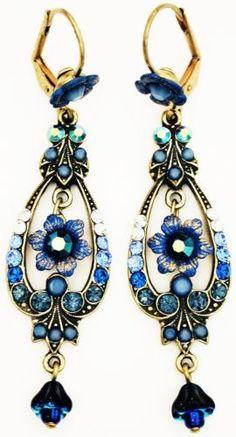 Michal Negrin Blue Swirl Crystal Flower Earrings