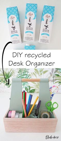 Make a desk organizer with recycled materials. This desk caddy with  handle is super practical to organize your craft and sewing supplies.  Click to find all the instructions to make yours. #diy #cardboard #ideas  #wooden #easy #video #office #desk #organizer #caddy #artsupplies  #storage #organizing #carton #box #milk #recycle