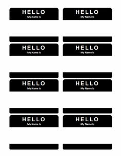 A sheet of printable name tags to use with Avery name tag labels. Free versions for Microsoft Word plus a fillable PDF version. Download it at http://templateharbor.com/templates/name-tags/hello-my-name-is-name-tag/