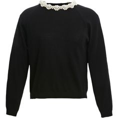 Simone Rocha Daisy Pearl Embellished Knit (5.780 VEF) ❤ liked on Polyvore featuring tops, sweaters, knit tops, pearl sweater, daisy top, knit sweater and pullover sweater