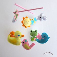 Baby Crib Mobile - Baby Mobile - Felt Mobile - Nursery mobile - Yellow duck (Custom Color Available)